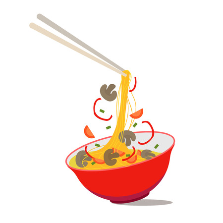 Ilustración de Cartoon Noodle Soup in Chinese Bowl Asian Food for Menus of Cafes and Restaurants Concept Flat Design Style. Vector illustration of Asia Ingredients Soup. - Imagen libre de derechos