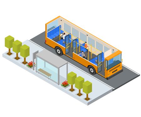 Ilustración de Bus Stop Station Autobus with People and Seats Isometric View Public Transport City. Vector illustration of Bus and Seat - Imagen libre de derechos