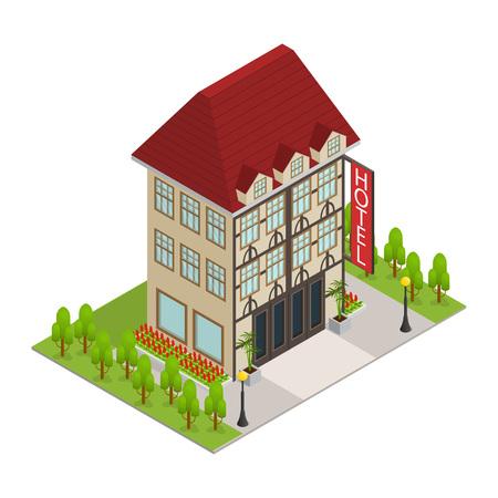 Ilustración de City Hotel Building Isometric View. Vector - Imagen libre de derechos