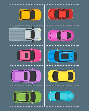 Illustration pour Cartoon Parking Zones with Cars Top View. Vector - image libre de droit