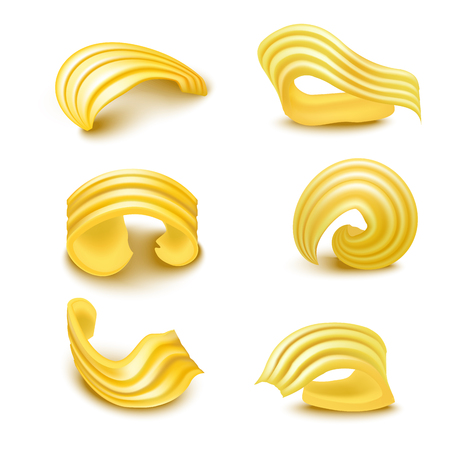 Illustration pour Realistic Detailed 3d Different Types Butter Curls Set. Vector - image libre de droit