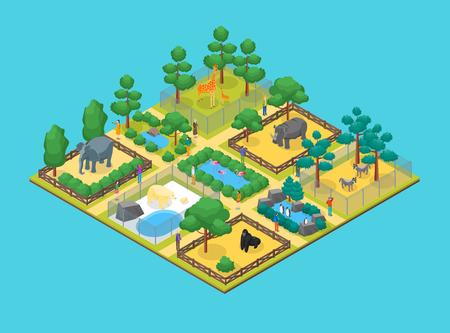Illustration pour Zoo Concept 3d Isometric View Animal Wildlife Nature Park on a Blue Background. Vector illustration of Zoological Garden - image libre de droit