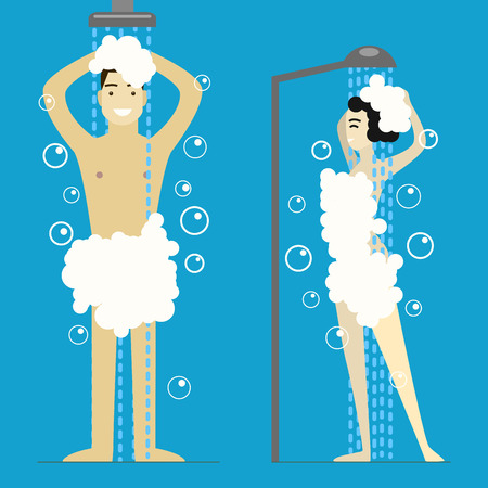 Ilustración de Cartoon Man and Woman Taking Shower. Vector - Imagen libre de derechos