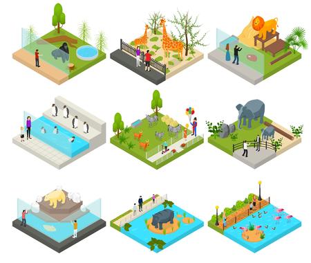 Illustration pour Public Zoo Set Concept 3d Isometric View. Vector - image libre de droit