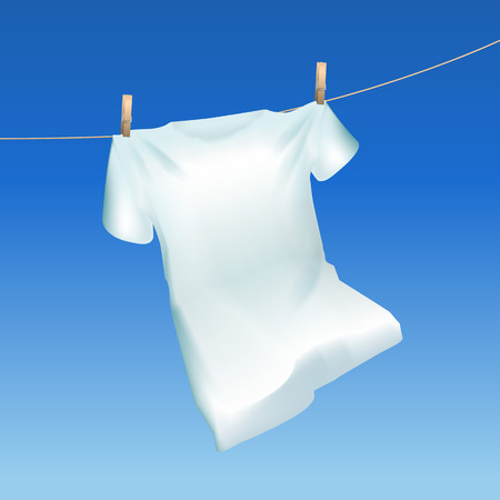 Illustrazione per Realistic Detailed 3d Tshirt Hanging Out on a Blue Sky Background Closeup View. Vector illustration of Drying Cloth - Immagini Royalty Free