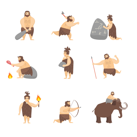 Cartoon Characters Caveman or Neanderthal People Set Concept Element Flat Design Style. Vector illustration of Primitive Person