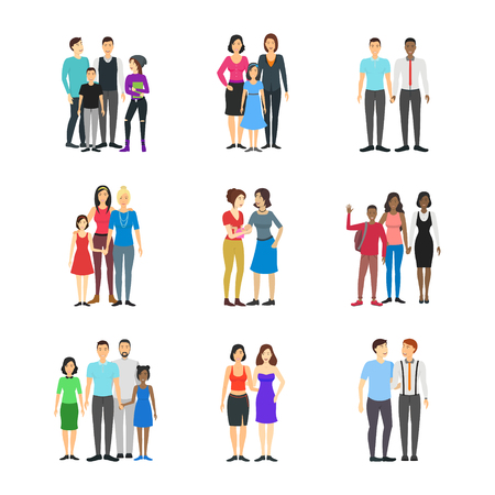 Illustration for Cartoon Characters Different Homosexual Couples Families Set lgbt Concept Element Flat Design Style. Vector illustration of Family - Royalty Free Image