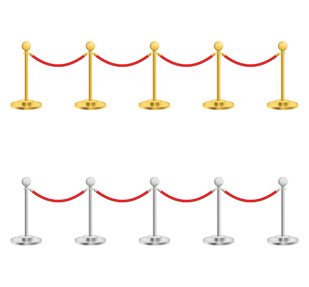 Illustration pour Realistic Detailed 3d Gold and Silver Barriers for Event, Award, Entertainment and Premiere. Vector illustration - image libre de droit