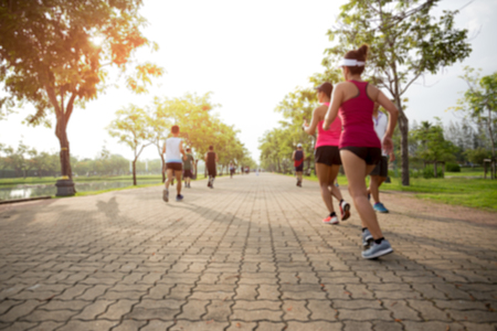 Photo for Blurred concept group of people running in the park in the morning - Royalty Free Image