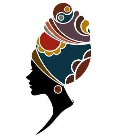 Illustration pour illustration vector of African women silhouette fashion models, beautiful black women on white background - image libre de droit