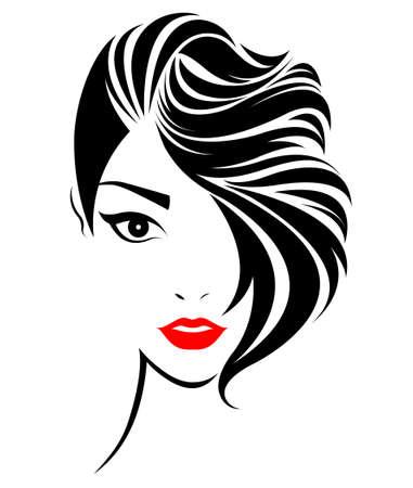 Illustration pour illustration of women short hair style icon, logo women face on white background, vector - image libre de droit