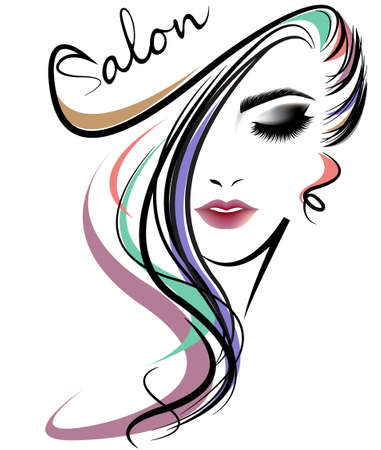 Illustration pour illustration of women long hair style icon, logo women face on white background, vector - image libre de droit