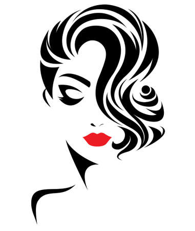 Illustration pour illustration of women short hair style icon, logo women face on white background, vector - image libre de droit