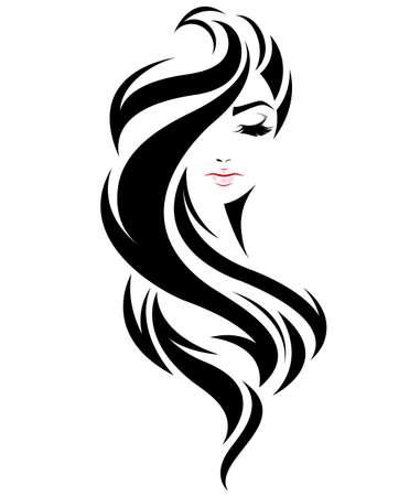 Illustration pour illustration of women long hair style icon, logo women face on white background, vector - image libre de droit