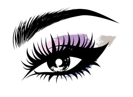 Foto per Illustration vector of beautiful eye makeup and brow on white background - Immagine Royalty Free