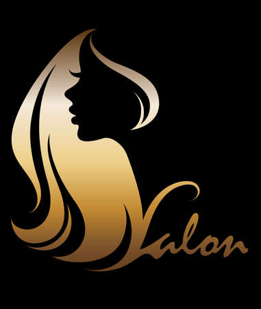 Ilustración de illustration vector of women silhouette golden icon, women face logo on black background - Imagen libre de derechos