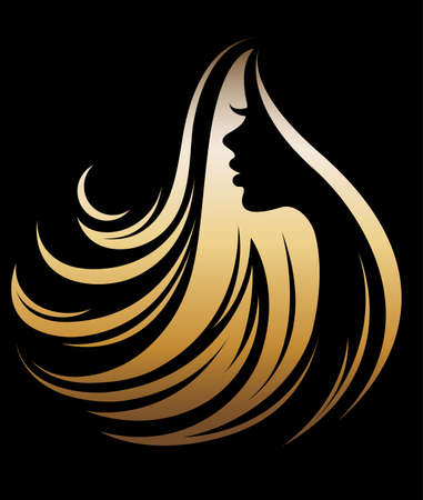 Ilustración de illustration vector of women silhouette golden icon, women face logo on black background - Imagen libre de derechos