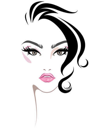 Ilustración de illustration of women hair style icon, logo women face makeup on white background, vector - Imagen libre de derechos