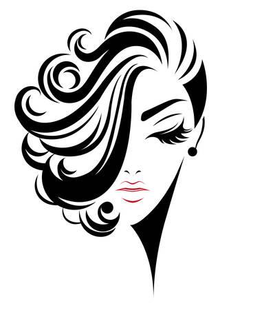 Ilustración de illustration of women short hair style icon, logo women face on white background, vector - Imagen libre de derechos