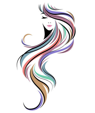 Photo pour women long hair style icon, logo women face on white background - image libre de droit