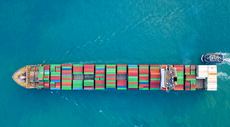 Photo for Aerial view , container ship or cargo ship in import export and business logistic.  - Royalty Free Image
