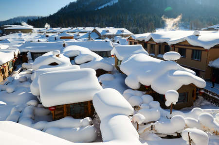Photo for The China village in snow scenic. - Royalty Free Image