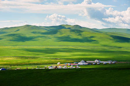 Foto de Mongolia yurts in the summer grassland of Hulunbuir, China. - Imagen libre de derechos