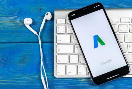 Foto de Sankt-Petersburg, Russia, June 2, 2018: Google AdWords application icon on Apple iPhone X screen close-up. Google Ad Words icon. Google Adwords application. Social media network - Imagen libre de derechos