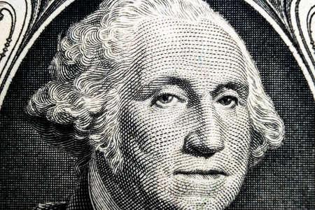 Foto de US president George Washington face portrait on the USA one dollar note. Macro shot. Background of the money. George Washington eyes macro shot. - Imagen libre de derechos