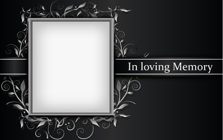 Ilustración de Mourning card with photo frame and 3d floral effect - Imagen libre de derechos