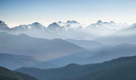 Photo pour Hills during sunrise in mountain valley. Beautisul natural landscape - image libre de droit