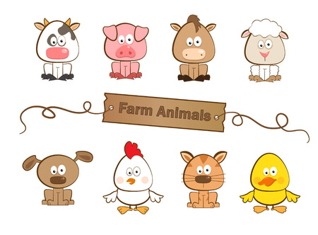 Photo for Farm Animals - Cute set of eight farm animals  - Royalty Free Image