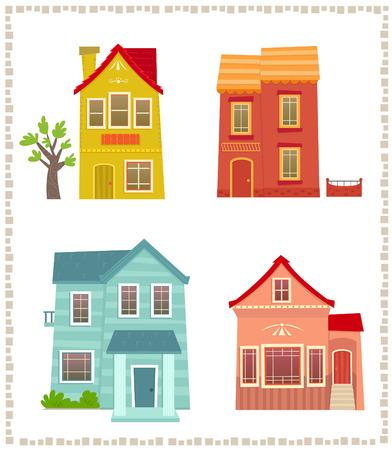 Illustration pour Two Story Houses  Cartoon set of four colorful two story houses. Eps10 - image libre de droit