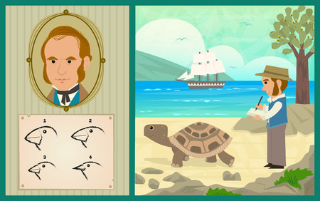 Illustration pour Darwin Adventure - Charles Darwin at the Galapagos Islands and the development of his theory of evolution. - image libre de droit