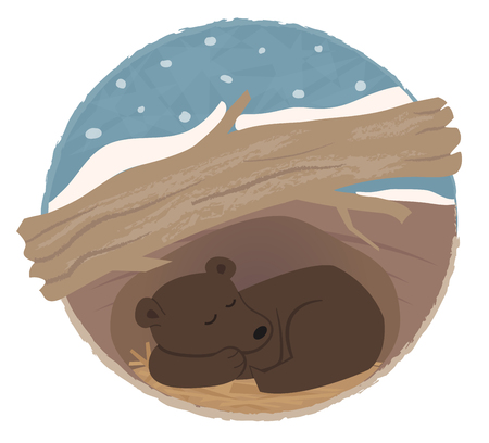Ilustración de Clip art of a bear sleeping in his den. - Imagen libre de derechos