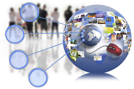 business people team with world map on the internet connection