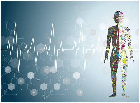 Illustration pour molecule heart Healthcare and Medical background - image libre de droit