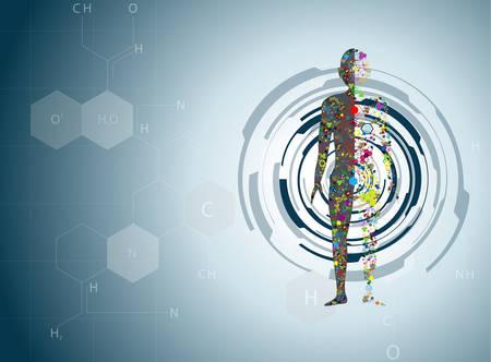 Ilustración de Molecule body concept of the human DNA Eps10 - Imagen libre de derechos