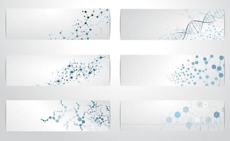 Illustration pour Set of digital backgrounds for dna molecule structure vector illustration. - image libre de droit