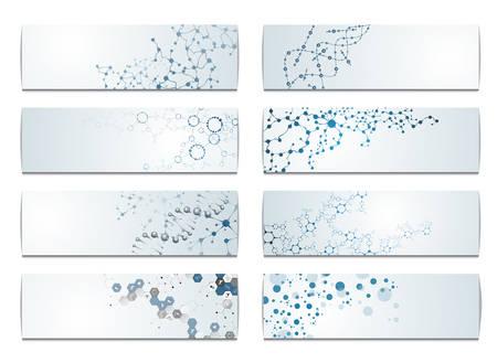 Ilustración de Set of digital backgrounds for dna molecule structure vector illustration. - Imagen libre de derechos