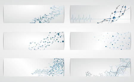 Foto per Set of digital backgrounds for dna molecule structure vector illustration. - Immagine Royalty Free