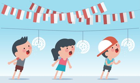 Illustration for Indonesia traditional special games during independence day. Crack feeding competition. Flat Illustration style. - Royalty Free Image