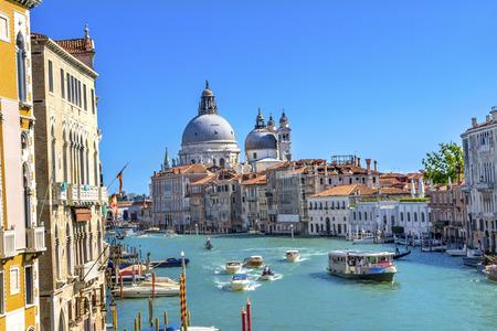 Photo pour Grand Canal Santa Maria della Salute Church from Ponte Academia Bridge Gondolas Venice Italy - image libre de droit