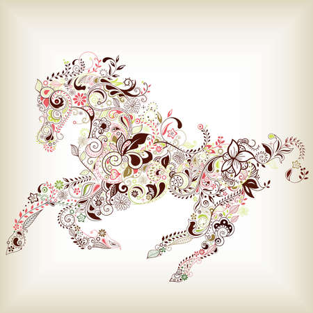 Abstract Floral Horse mural