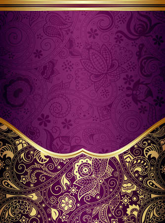 Ilustración de Abstract Gold and Purple Floral Frame Background - Imagen libre de derechos