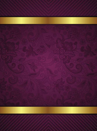 Ilustración de Abstract Gold and Floral Frame Background - Imagen libre de derechos