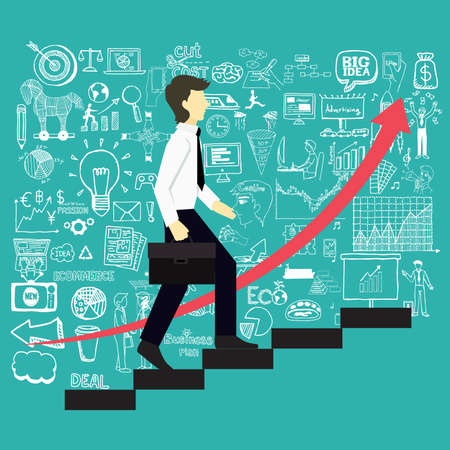 Illustration pour A business man steps up stairs to successful point with business doodles background. - image libre de droit