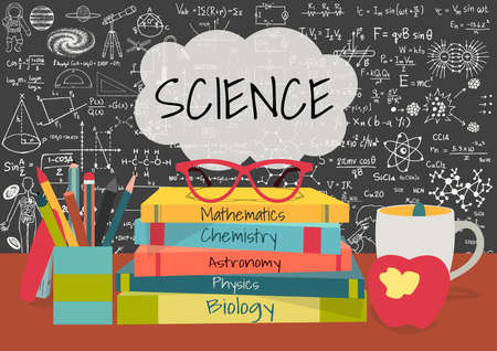 Illustration pour SCIENCE in speech bubbles above science books, pens box,apple and mug with science doodles on chalkboard background. - image libre de droit