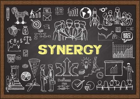 Illustration pour Doodles about SYNERGY on chalkboard. - image libre de droit