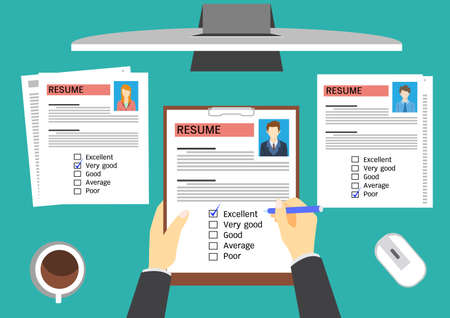 Illustration pour HR manager evaluating candidates. - image libre de droit